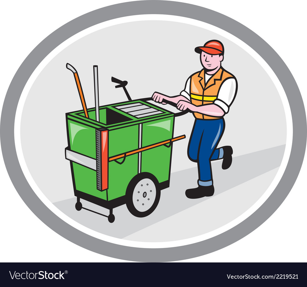 Street cleaner pushing trolley oval cartoon vector | Price: 1 Credit (USD $1)