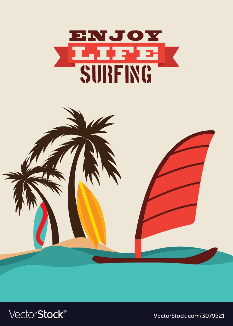 Surfing design vector | Price: 1 Credit (USD $1)