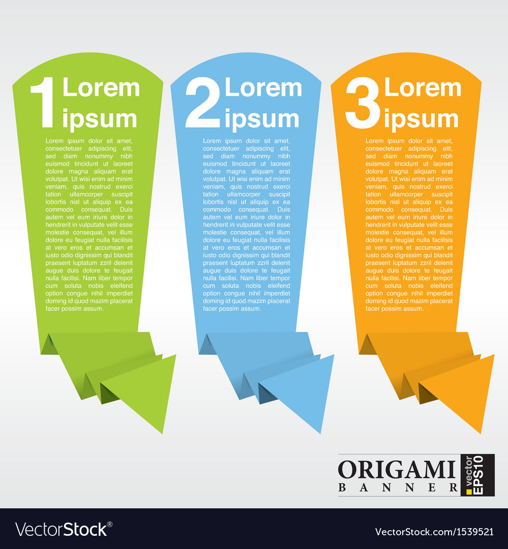 Vertical origami paper banner with numbered eps10 vector | Price: 1 Credit (USD $1)
