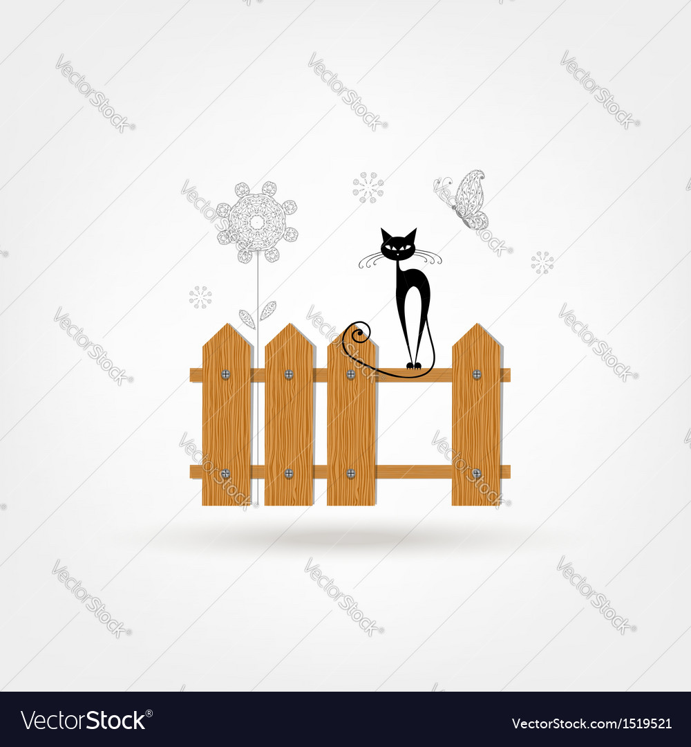 Wooden boards cat fence vector | Price: 1 Credit (USD $1)