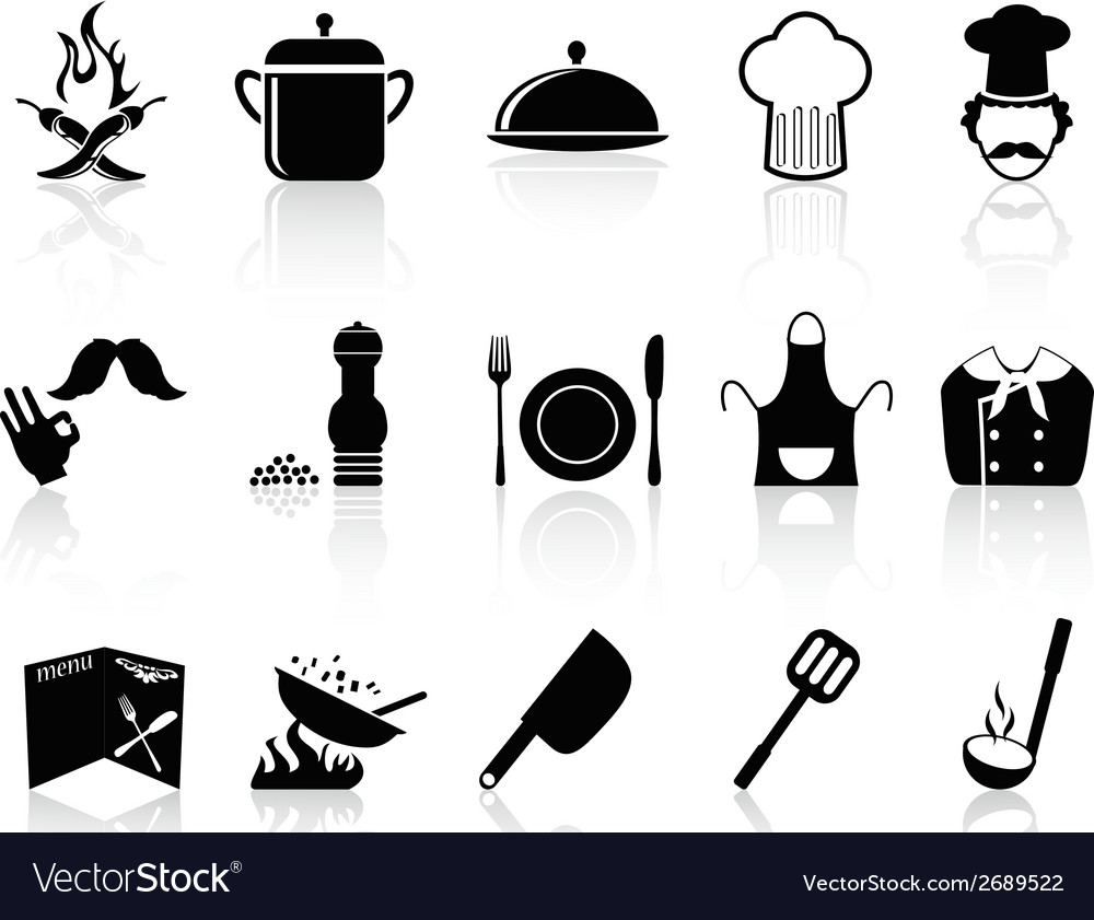 Black chef icons set vector | Price: 1 Credit (USD $1)