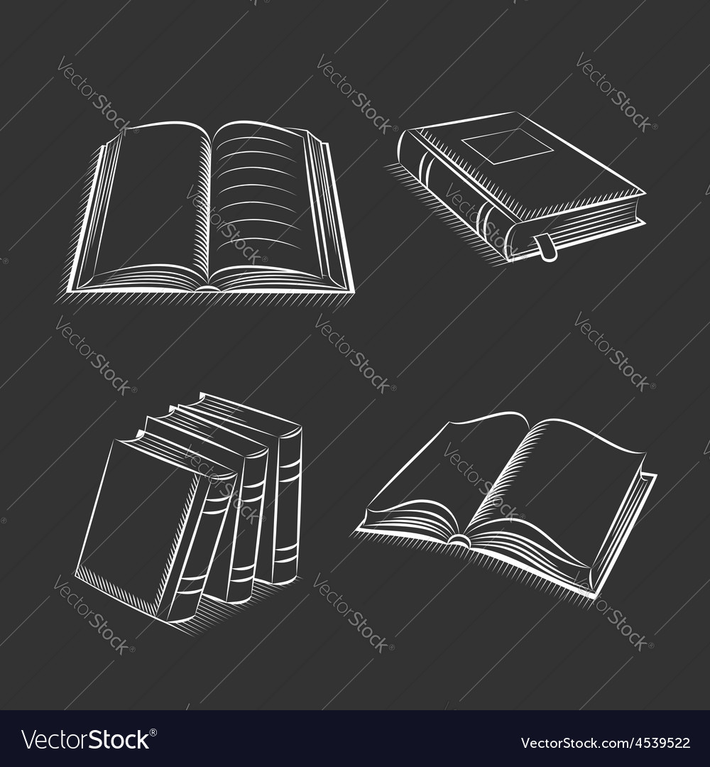 Book and notebook sketch set on black background vector | Price: 1 Credit (USD $1)