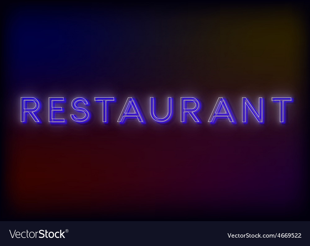 Colorful glowing neon lights restaurant vector   Price: 1 Credit (USD $1)