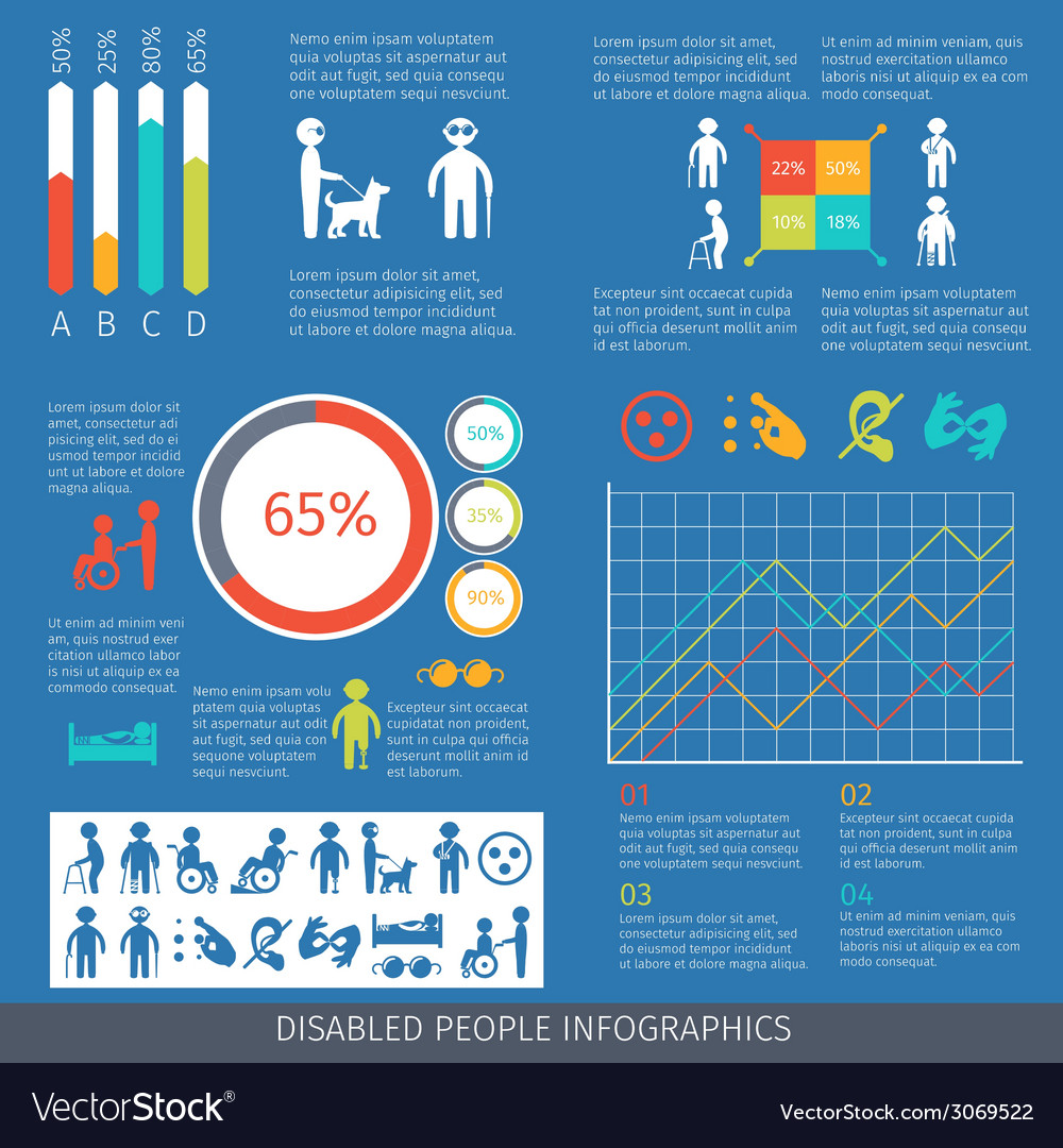 Disabled people infographic vector | Price: 1 Credit (USD $1)