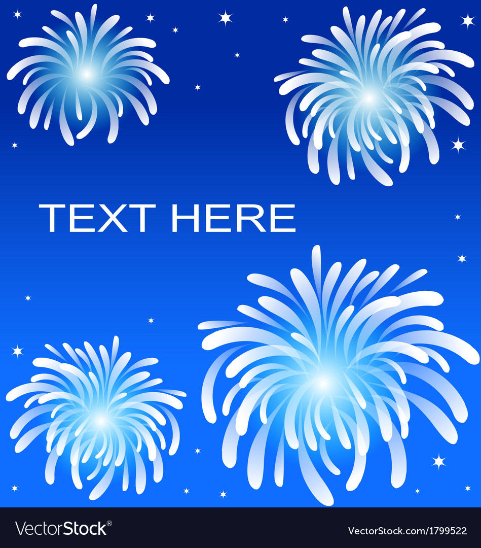 Fire work on blue background vector | Price: 1 Credit (USD $1)