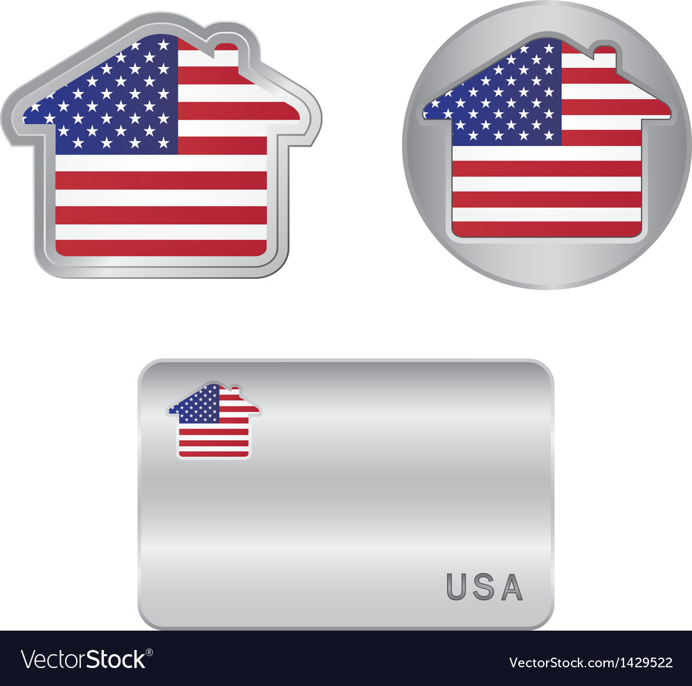 Home icon on the usa flag vector | Price: 1 Credit (USD $1)