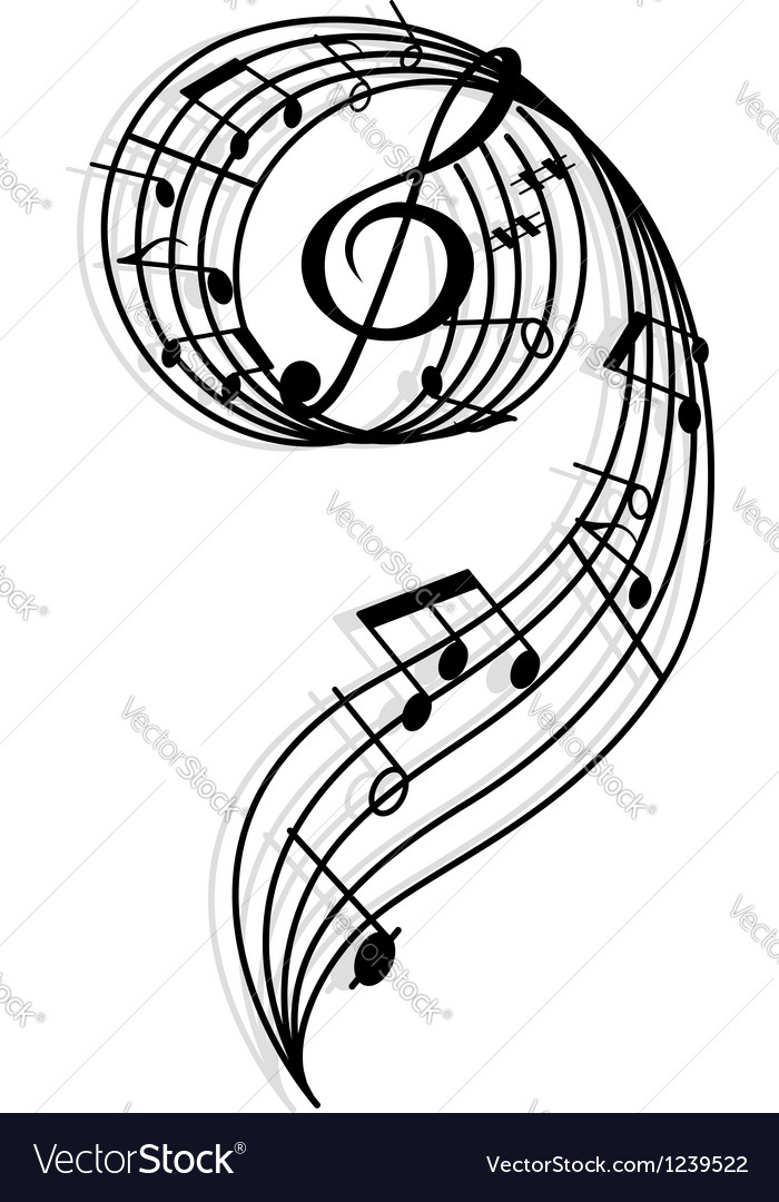 Musical curly elements with clef and notes vector | Price: 1 Credit (USD $1)