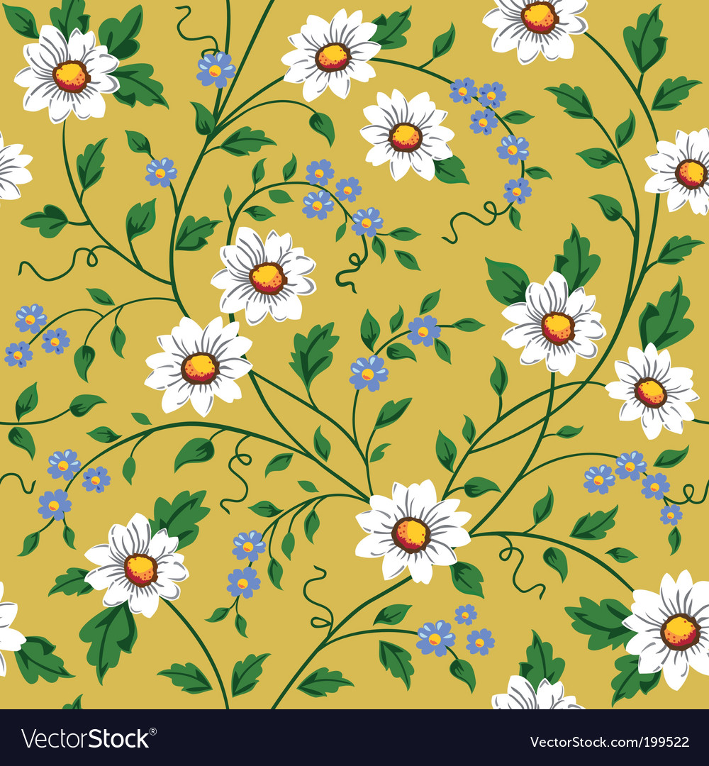 Seamless daisy pattern vector | Price: 1 Credit (USD $1)