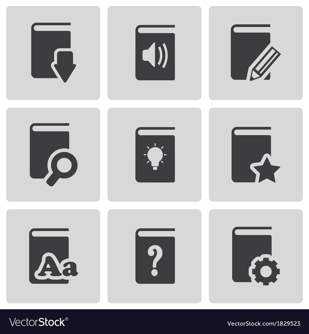 Black books icons set vector | Price: 1 Credit (USD $1)