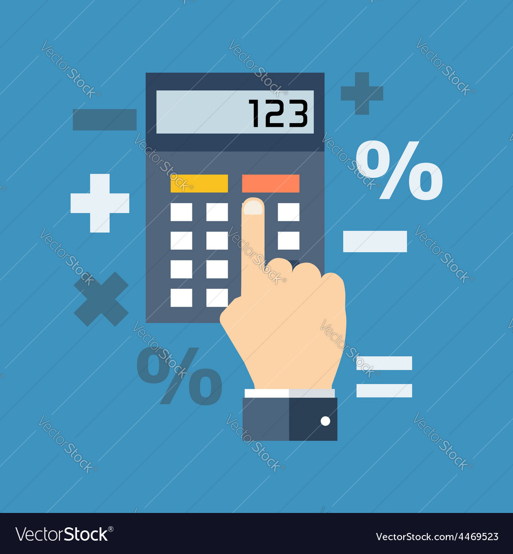 Calculation mathematics accountant concept flat vector | Price: 1 Credit (USD $1)