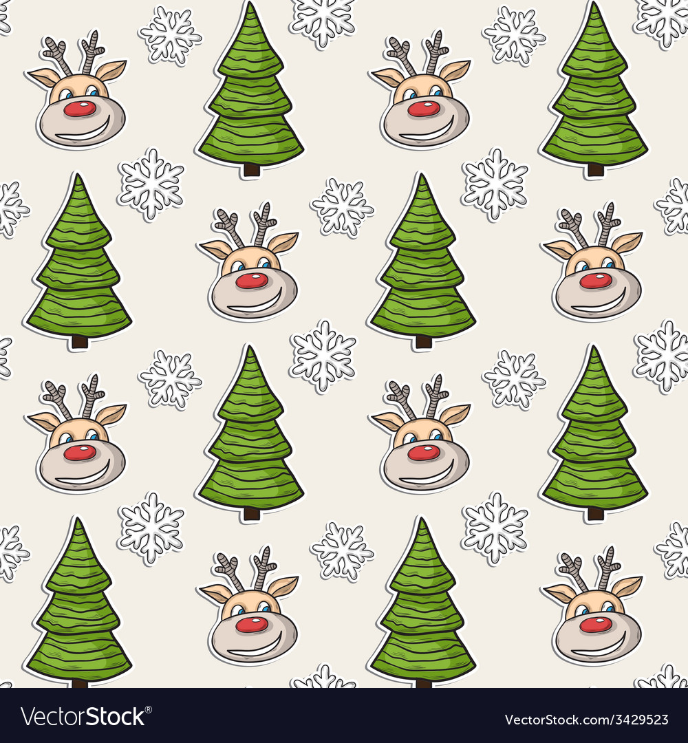Christmas pattern with deer tree snowflakes vector | Price: 1 Credit (USD $1)