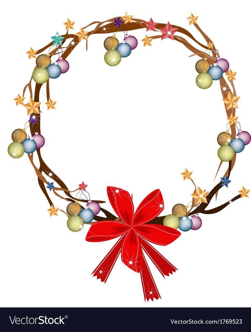 Christmas wreath of tree branch vector | Price: 1 Credit (USD $1)