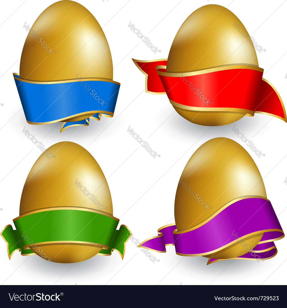 Collection easter egg with ribbon of different col vector | Price: 1 Credit (USD $1)