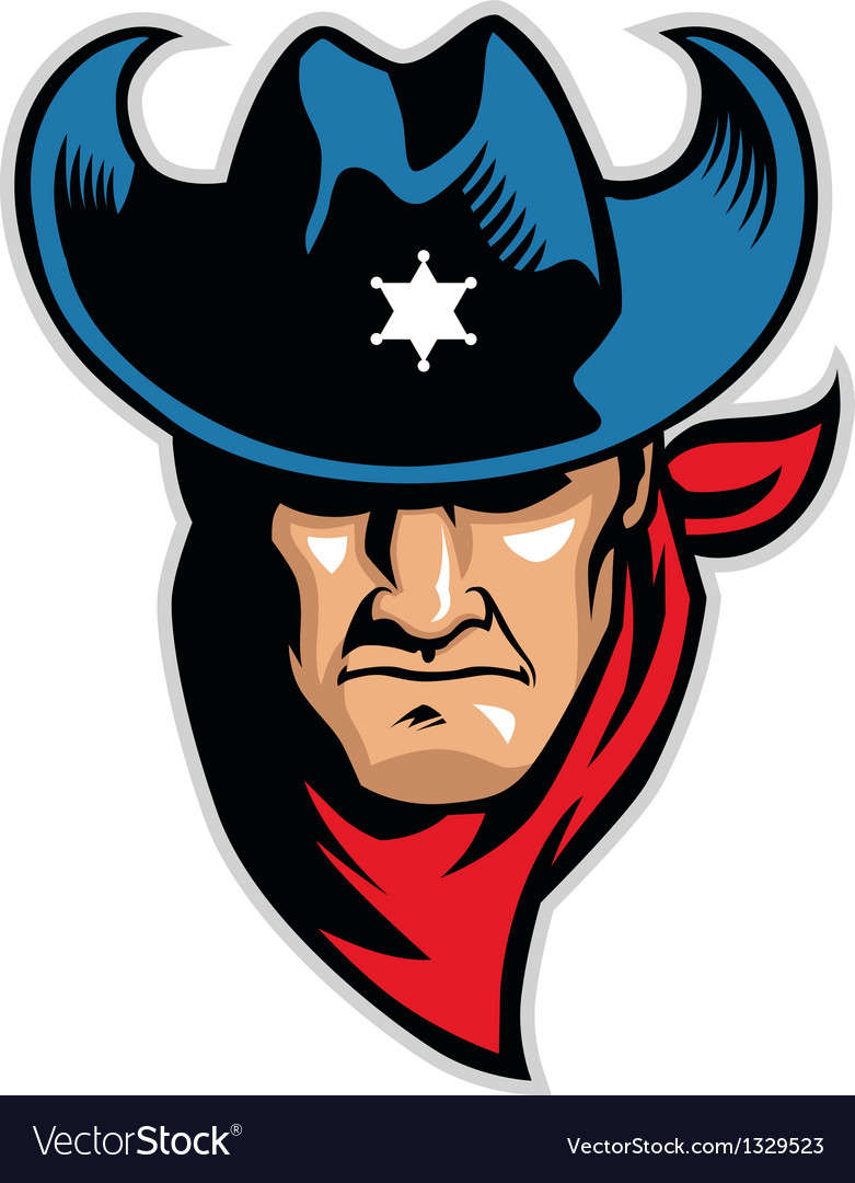 Cowboy head mascot vector | Price: 3 Credit (USD $3)