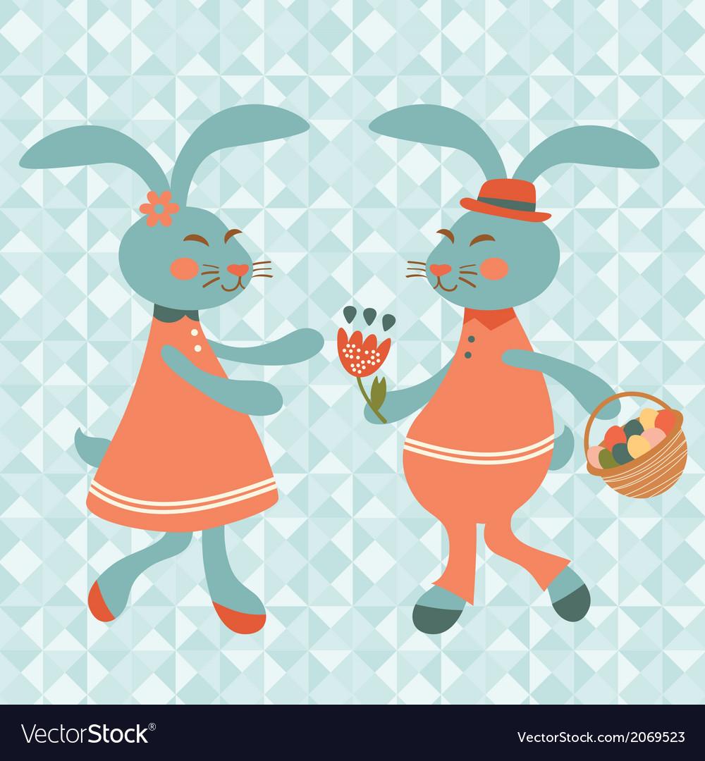 Cute rabbits couple vector | Price: 1 Credit (USD $1)