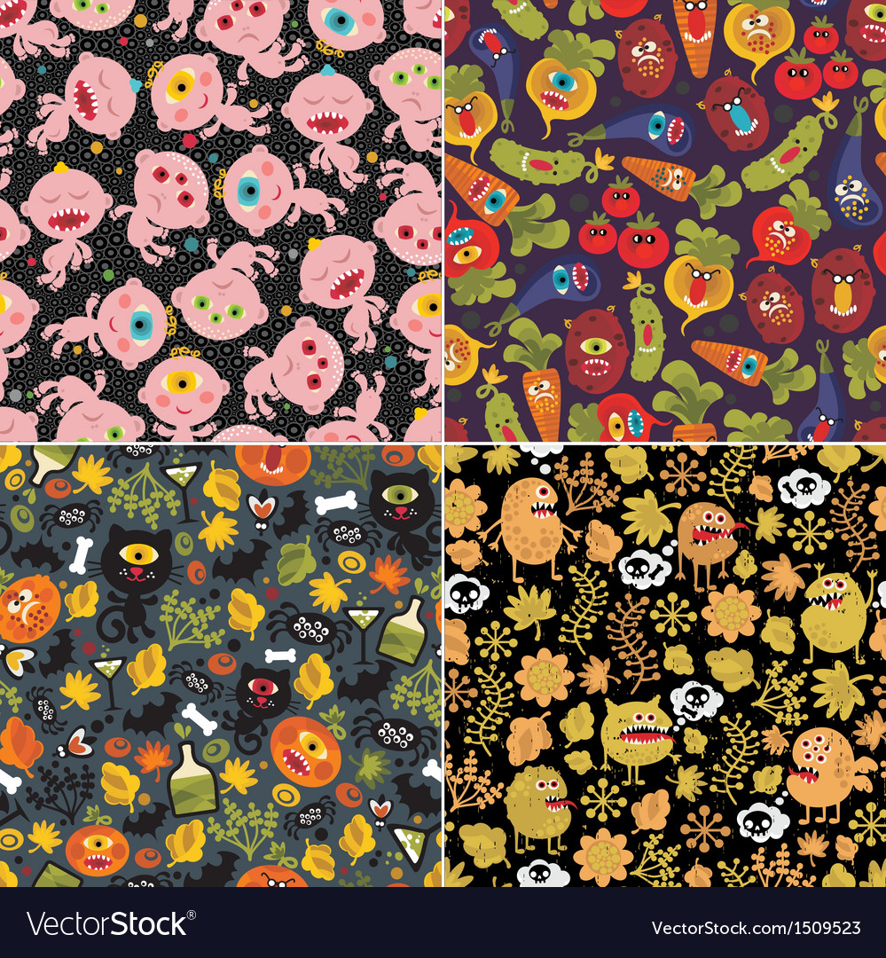 Four halloween backgrounds vector | Price: 3 Credit (USD $3)