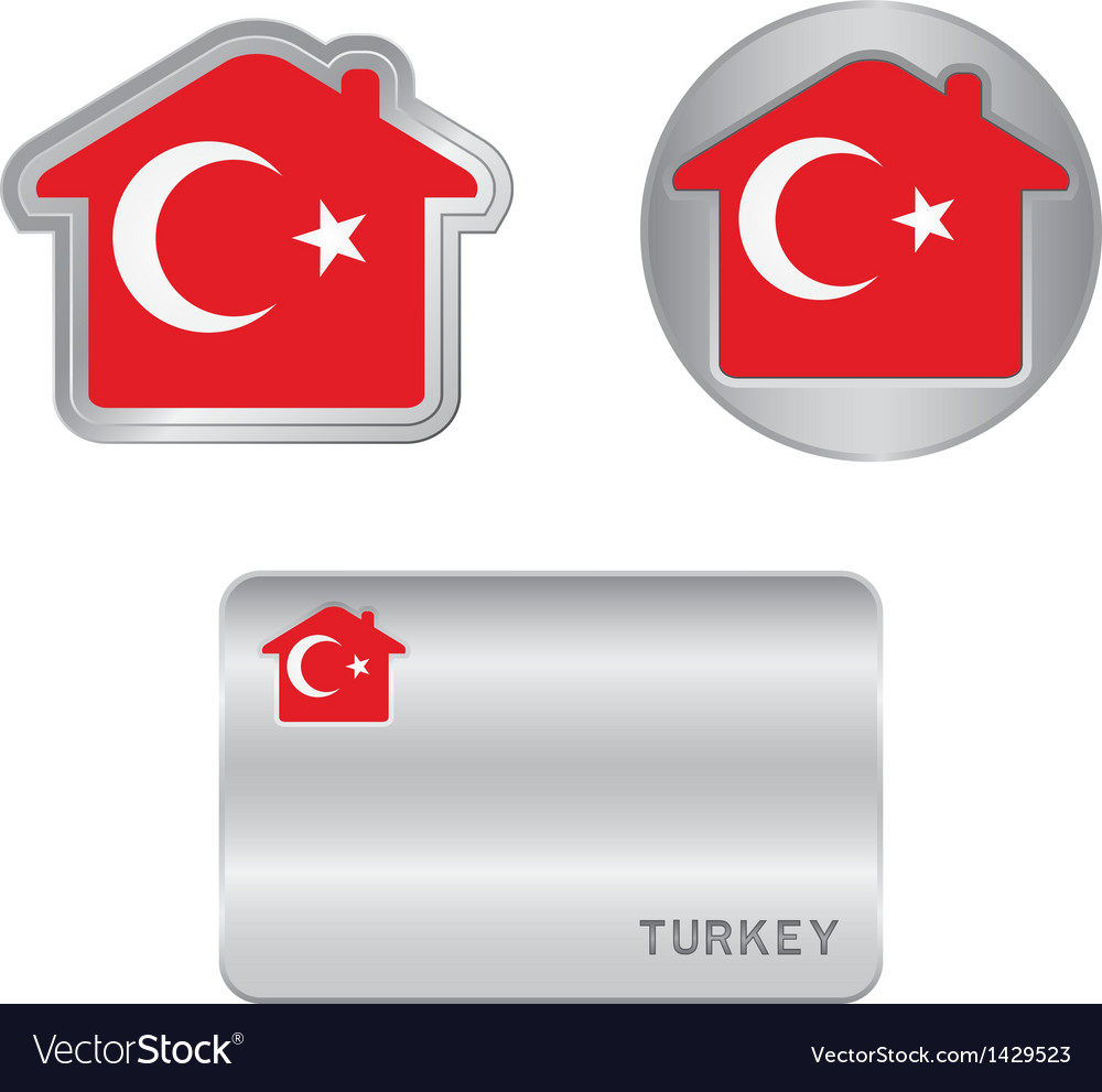 Home icon on the turkey flag vector | Price: 1 Credit (USD $1)