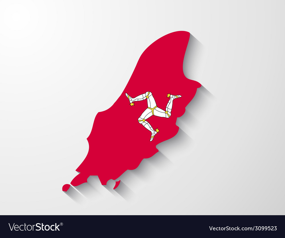 Isle of man country map with shadow effect vector | Price: 1 Credit (USD $1)