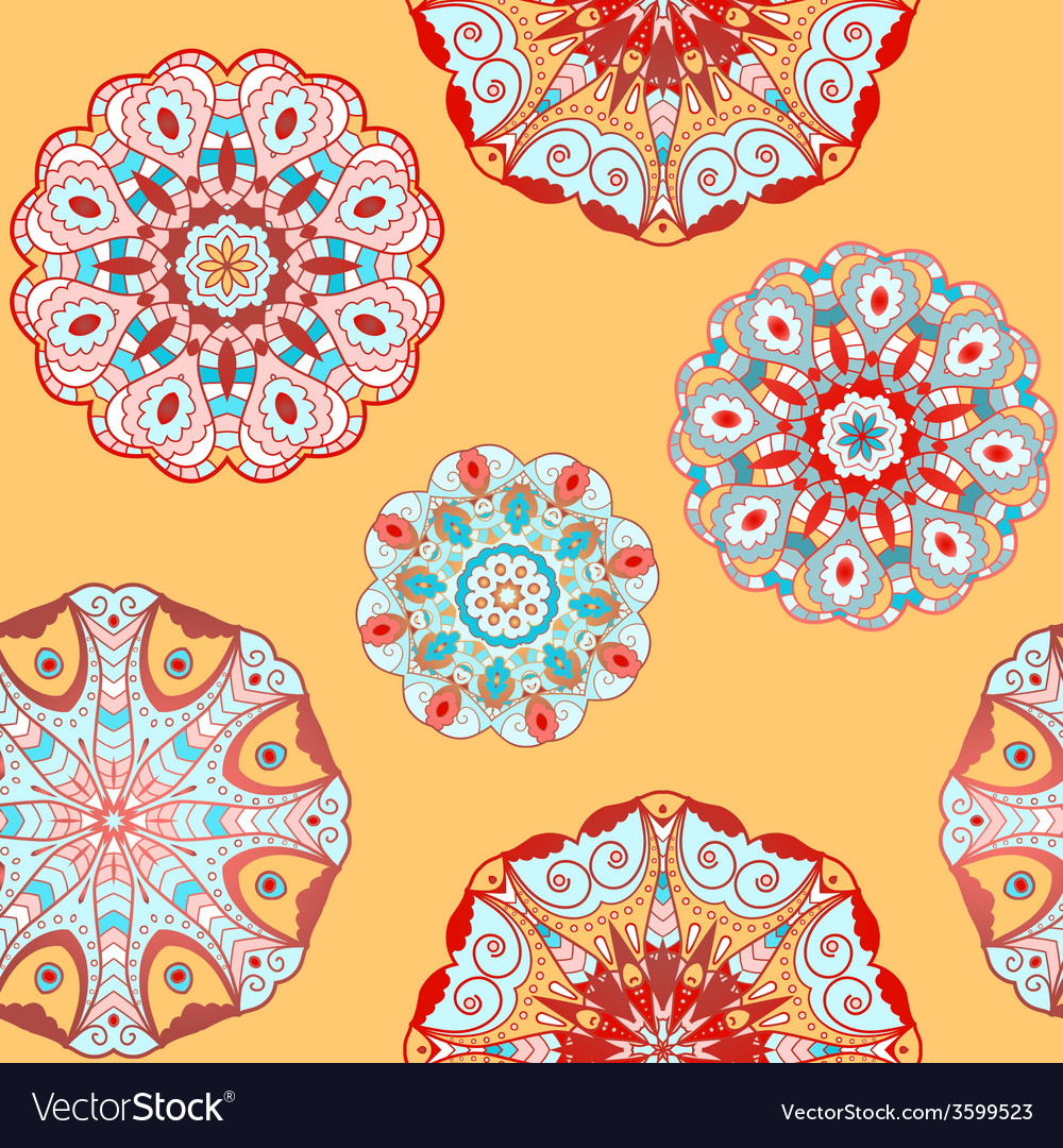 Oriental seamless pattern with circle ornaments vector | Price: 1 Credit (USD $1)