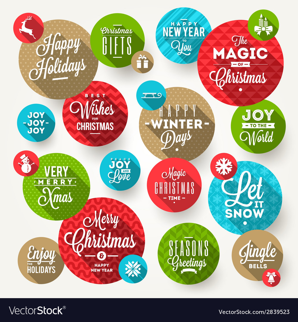 Set of round frames with christmas greeting vector | Price: 1 Credit (USD $1)