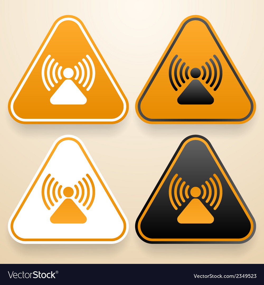 Set of triangular signs of danger of white black vector | Price: 1 Credit (USD $1)
