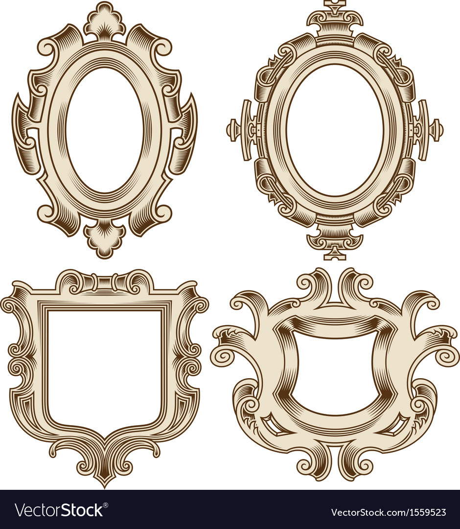 Set of vintage heraldic frames vector | Price: 1 Credit (USD $1)