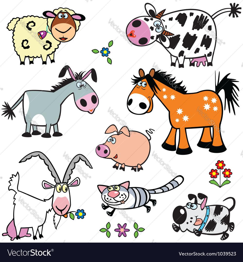 Set with cartoon farm animals vector | Price: 1 Credit (USD $1)