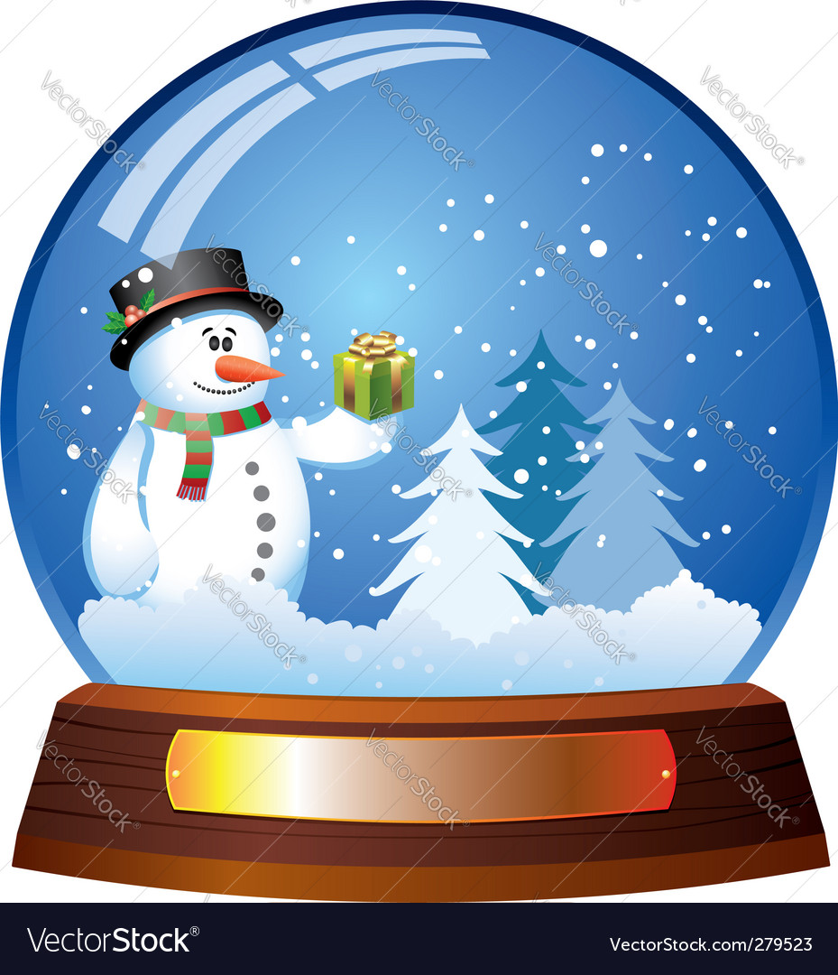 Snow globe with snowman vector | Price: 1 Credit (USD $1)
