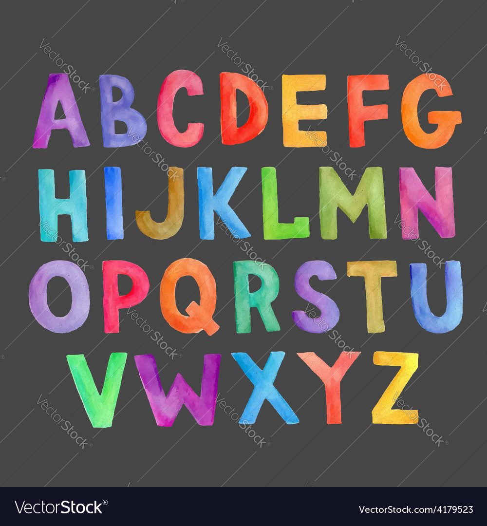 Watercolor colorful handwritten alphabet vector | Price: 1 Credit (USD $1)
