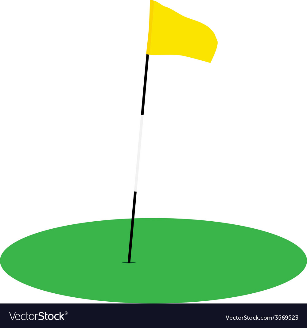 Yellow golf flag on green grass vector | Price: 1 Credit (USD $1)