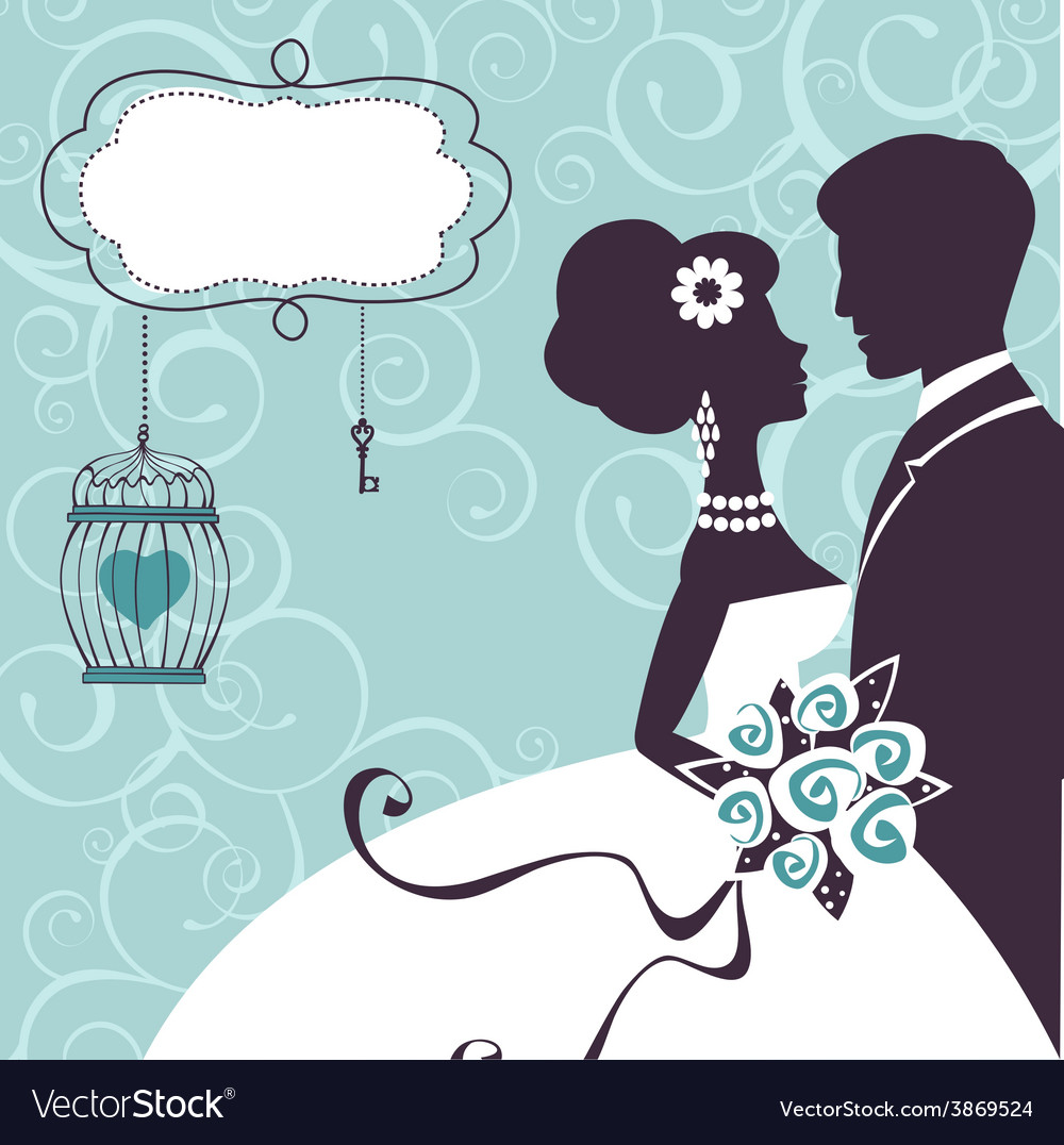 Elegant wedding couple in silhouette vector | Price: 1 Credit (USD $1)