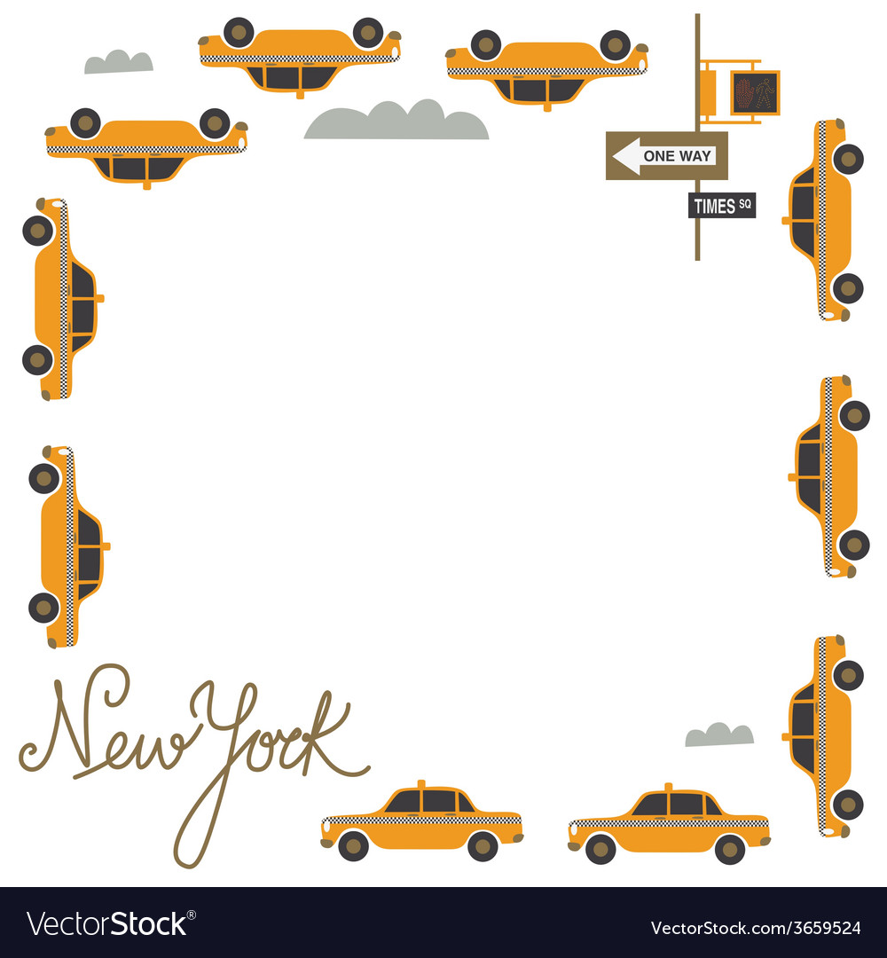 Frame design with nyc taxi vector | Price: 1 Credit (USD $1)