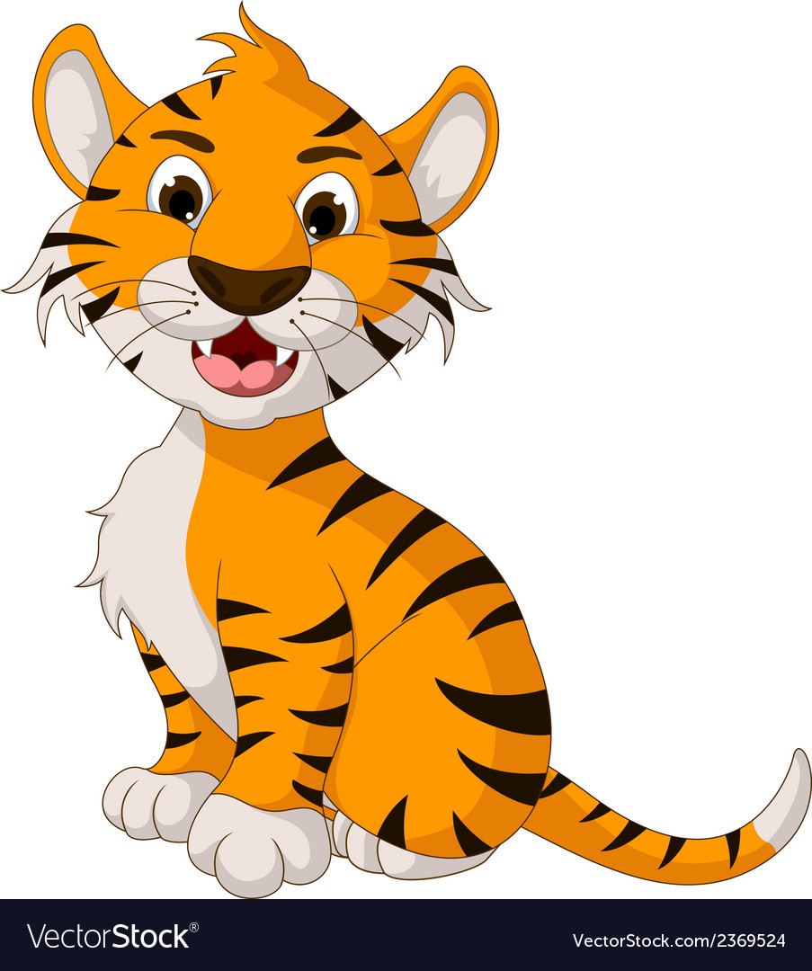 Funny tiger cartoon posing vector | Price: 1 Credit (USD $1)