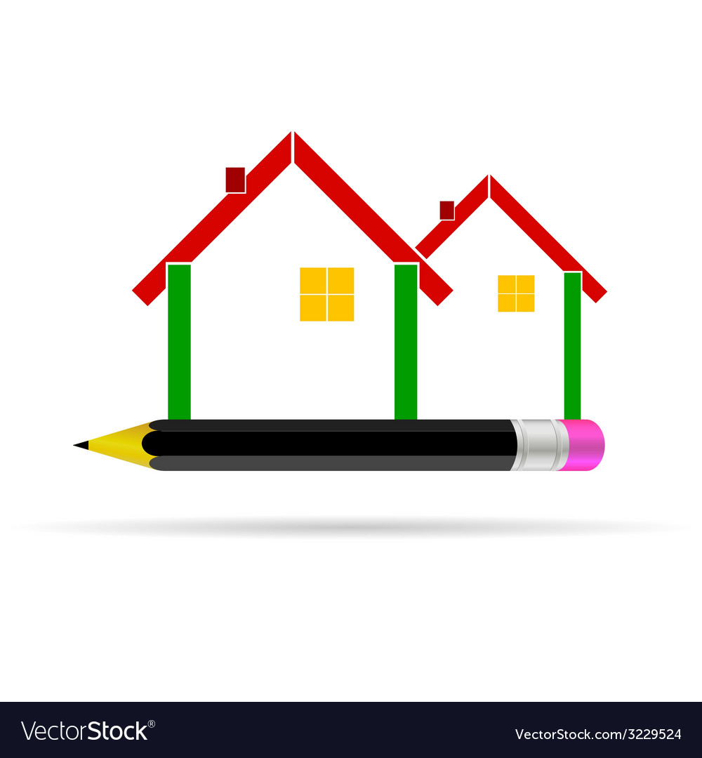 House with pencil vector | Price: 1 Credit (USD $1)