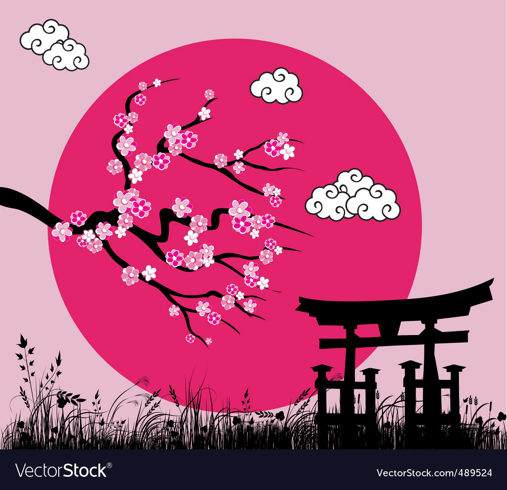 Japanese sakura blossom vector | Price: 1 Credit (USD $1)