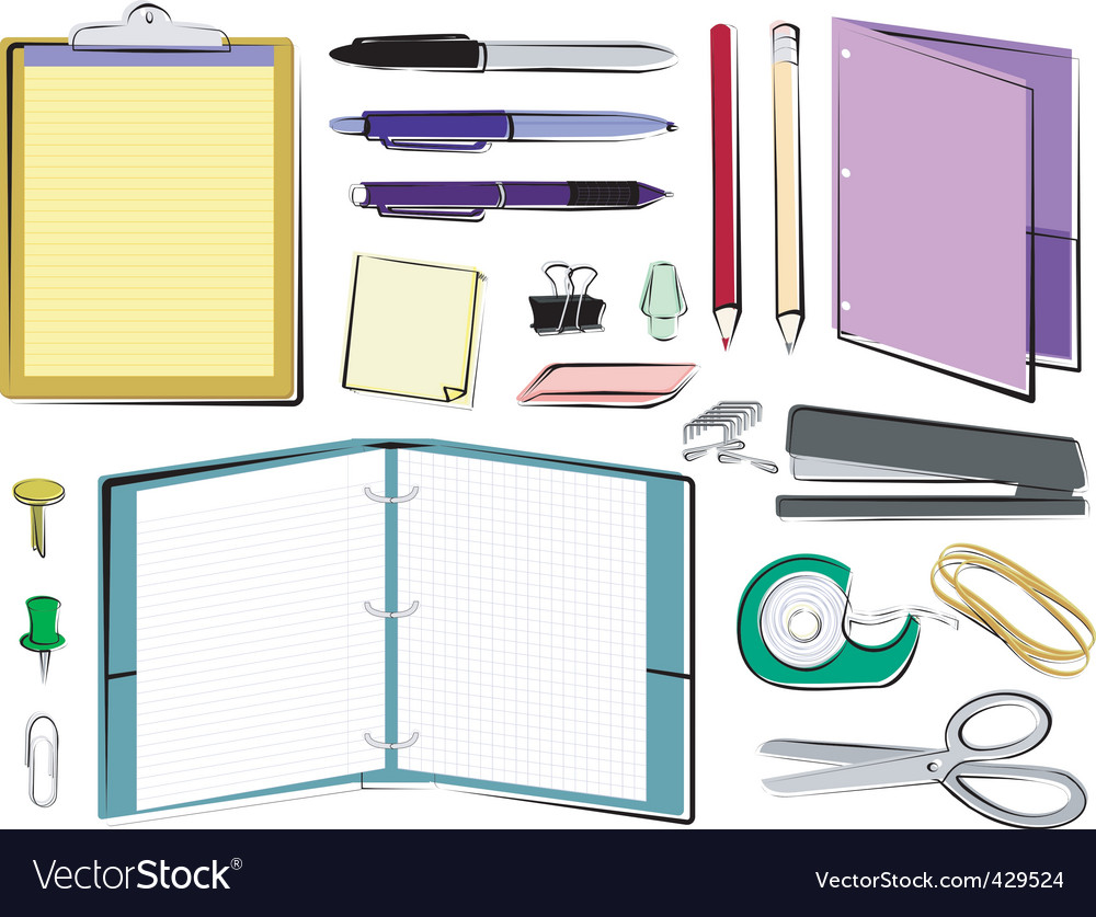 Office and school supplies vector | Price: 1 Credit (USD $1)