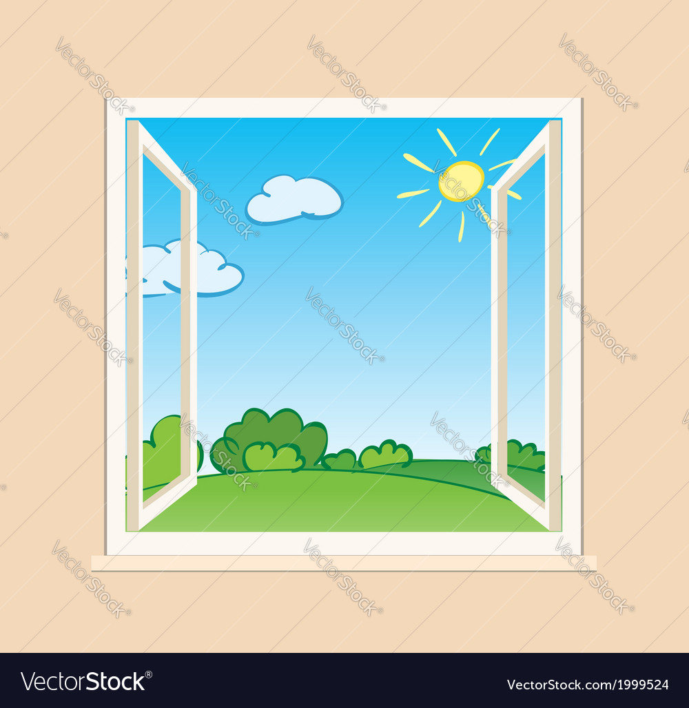 Open window with green nature outside vector | Price: 1 Credit (USD $1)