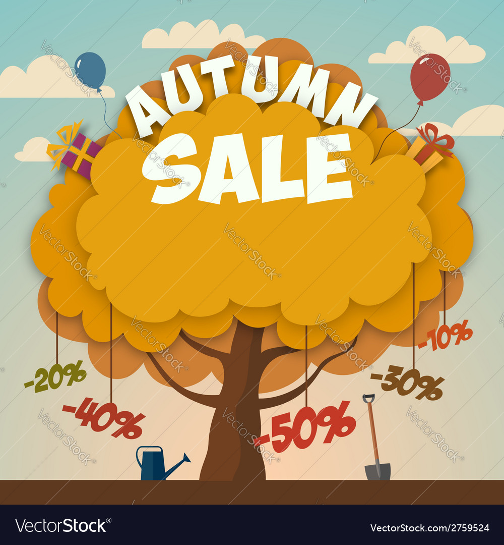 Sale advertising poster with autumn tree vector | Price: 1 Credit (USD $1)