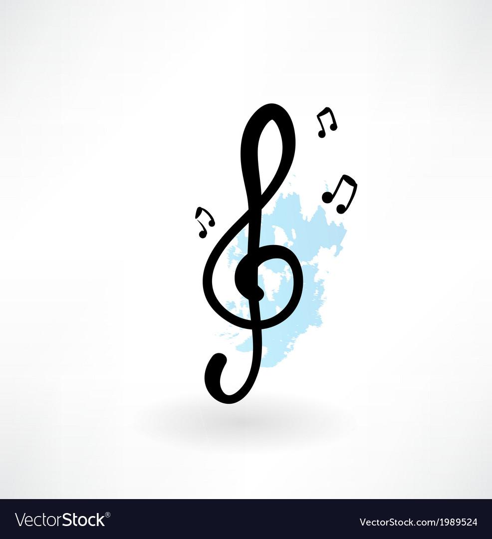 Treble clef grunge icon vector | Price: 1 Credit (USD $1)
