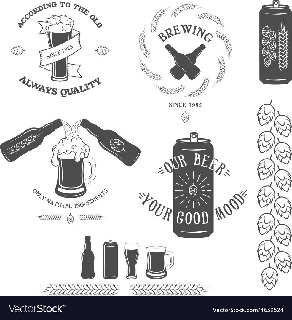 Vintage beer emblem and design elements vector | Price: 1 Credit (USD $1)