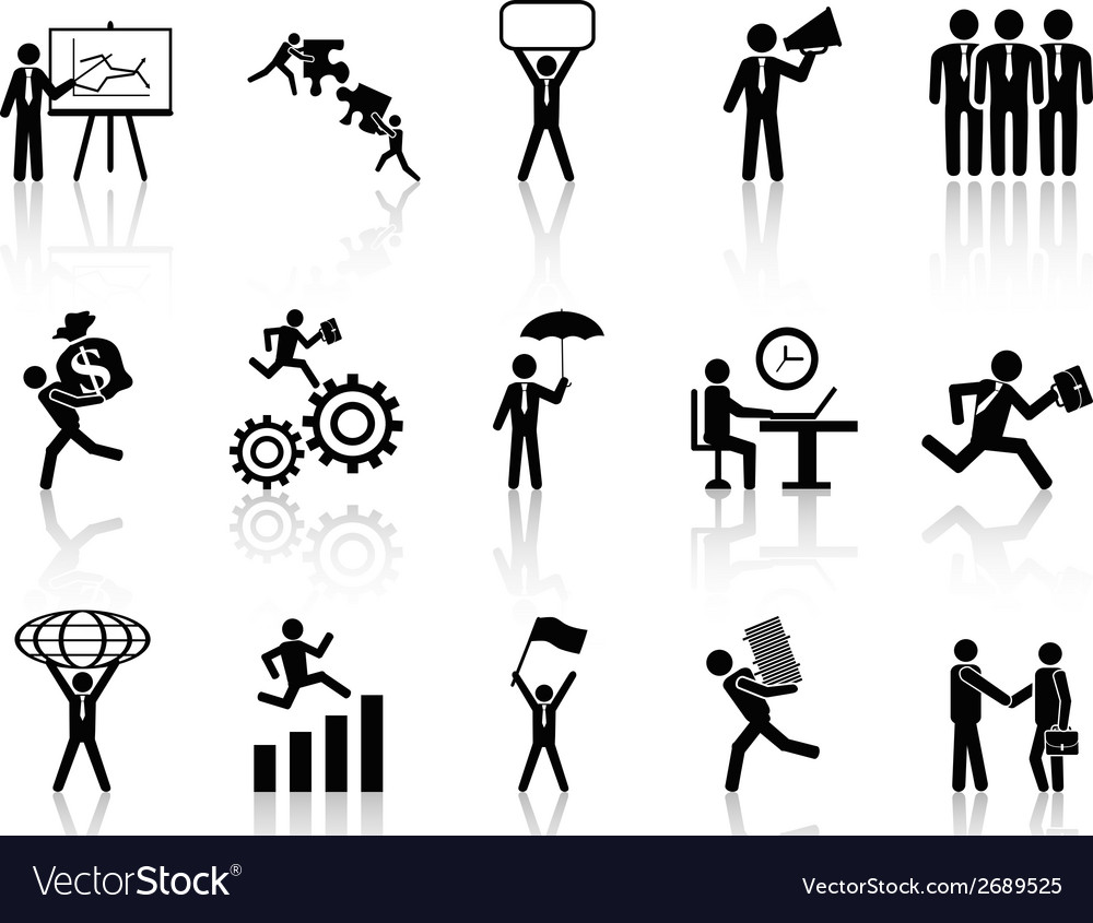 Black working businessman icons set vector | Price: 1 Credit (USD $1)