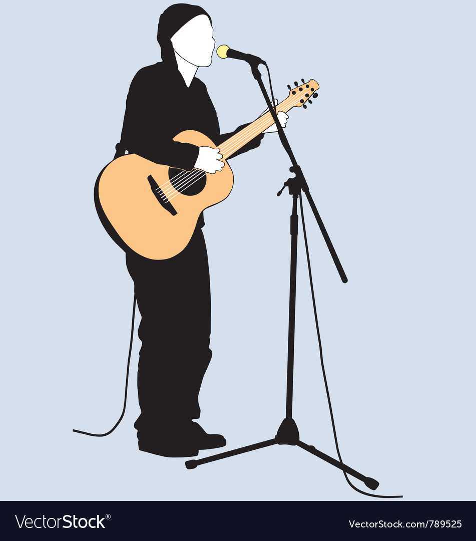Busker silhouette vector | Price: 1 Credit (USD $1)
