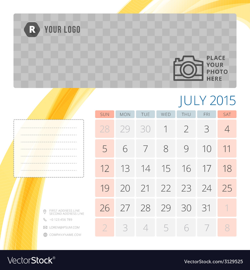 Calendar 2015 july template with place for photo vector | Price: 1 Credit (USD $1)