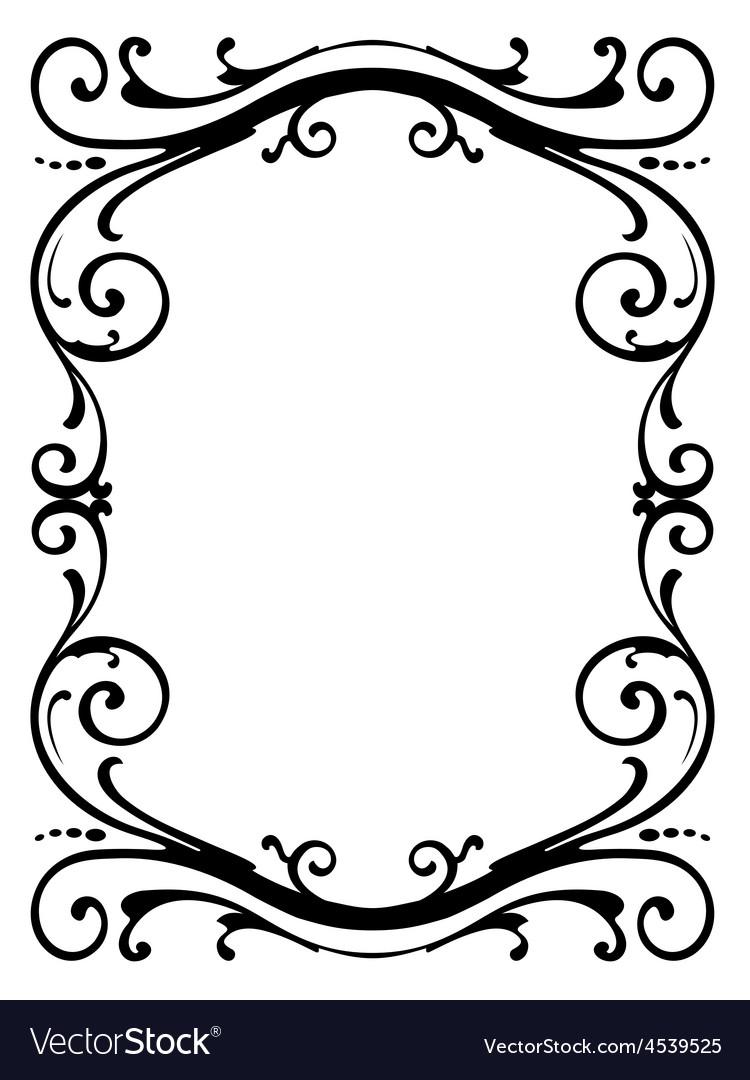 Calligraphy penmanship curly baroque frame black vector | Price: 1 Credit (USD $1)