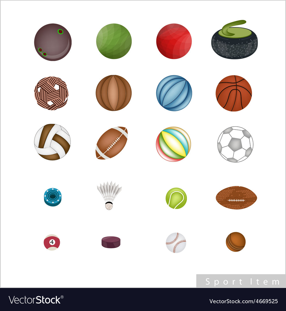 Collection of sport items on white background vector | Price: 1 Credit (USD $1)