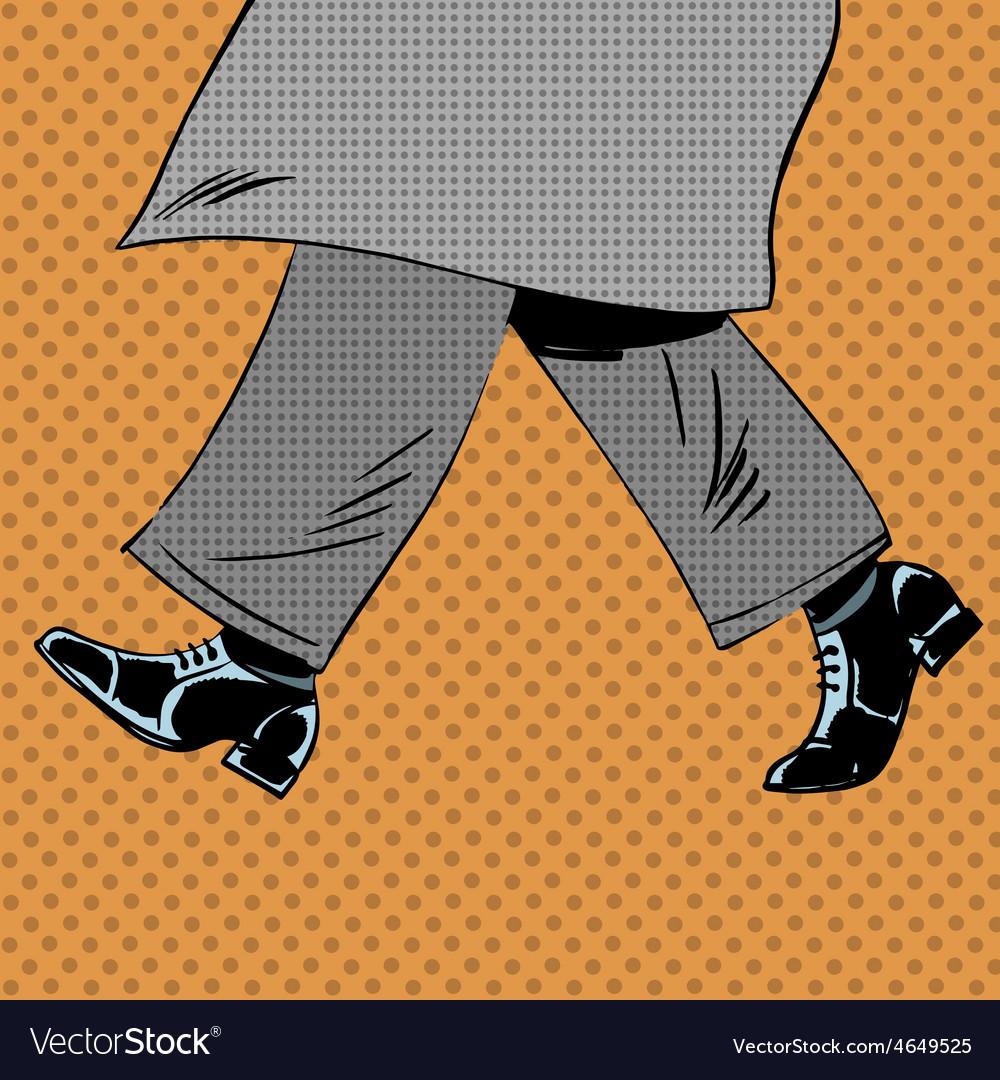 Male feet are shoes wind coat pop art comics retro vector | Price: 1 Credit (USD $1)