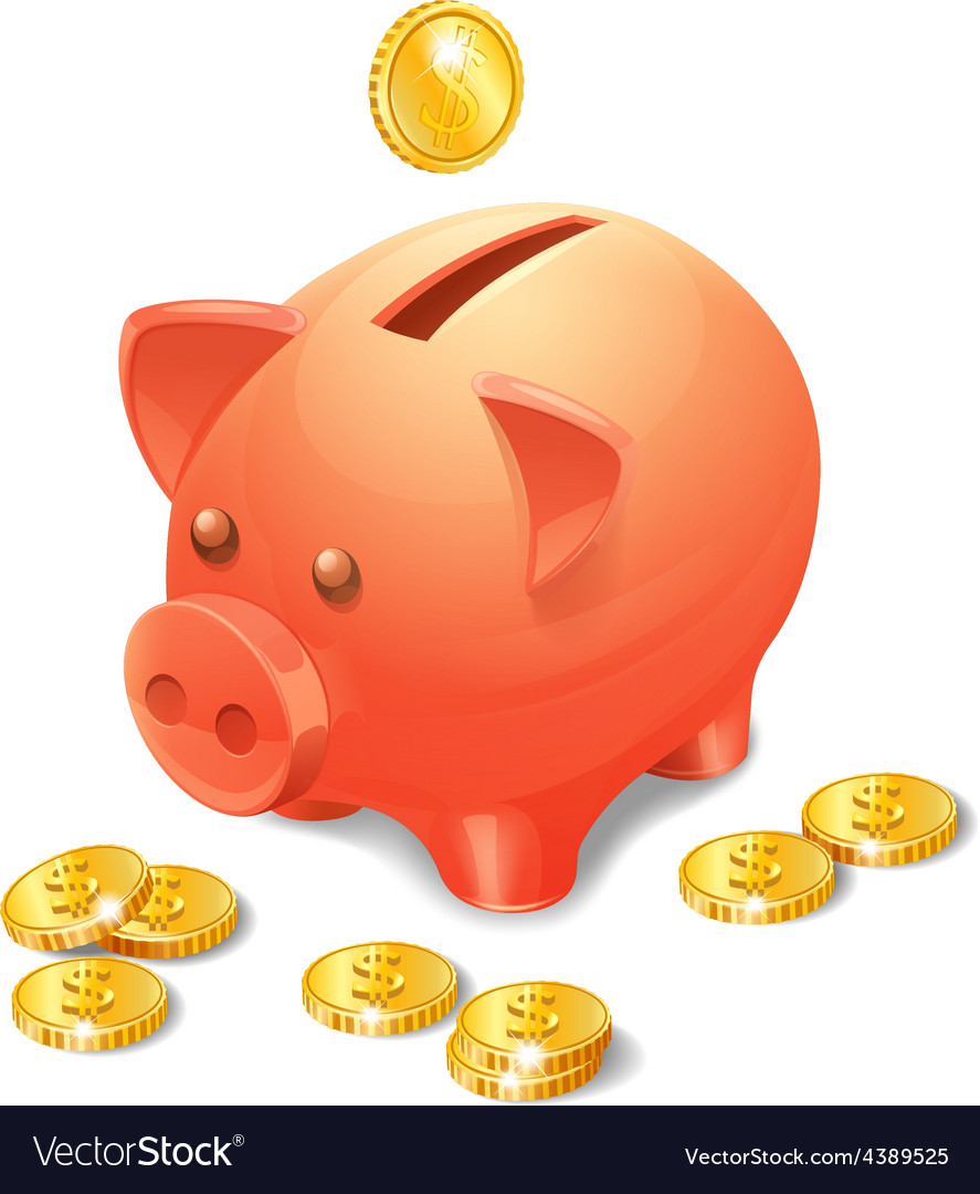 Piggy bank realistic vector | Price: 1 Credit (USD $1)
