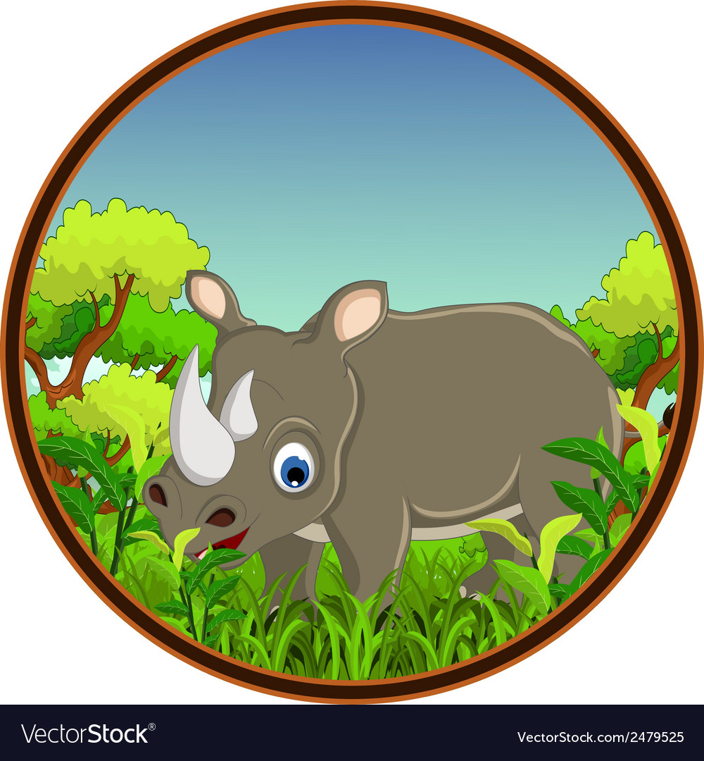 Rhino with forest background vector | Price: 1 Credit (USD $1)