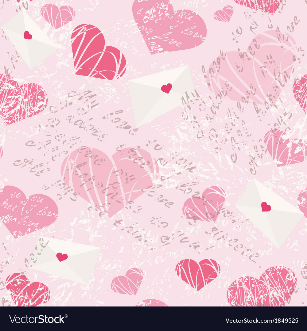 Seamless pattern with letters and hearts vector | Price: 1 Credit (USD $1)