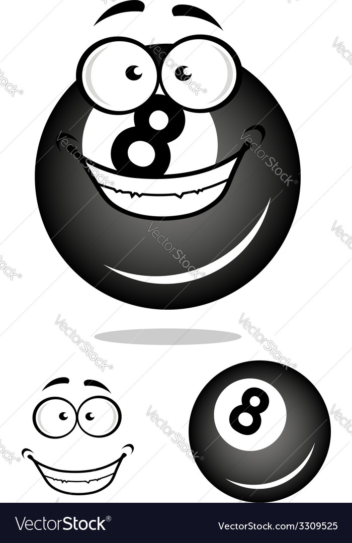 Smiling number 8 billiard ball vector | Price: 1 Credit (USD $1)